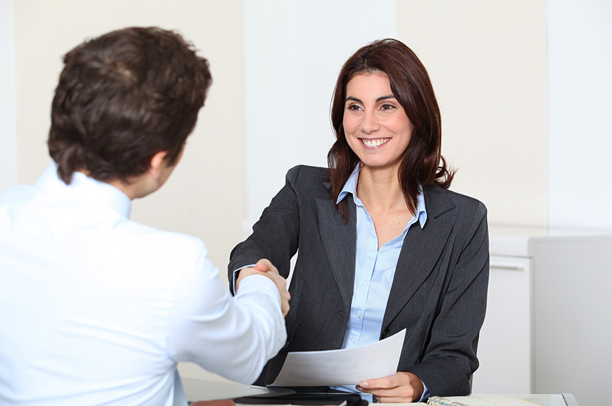 Applicant having an interview