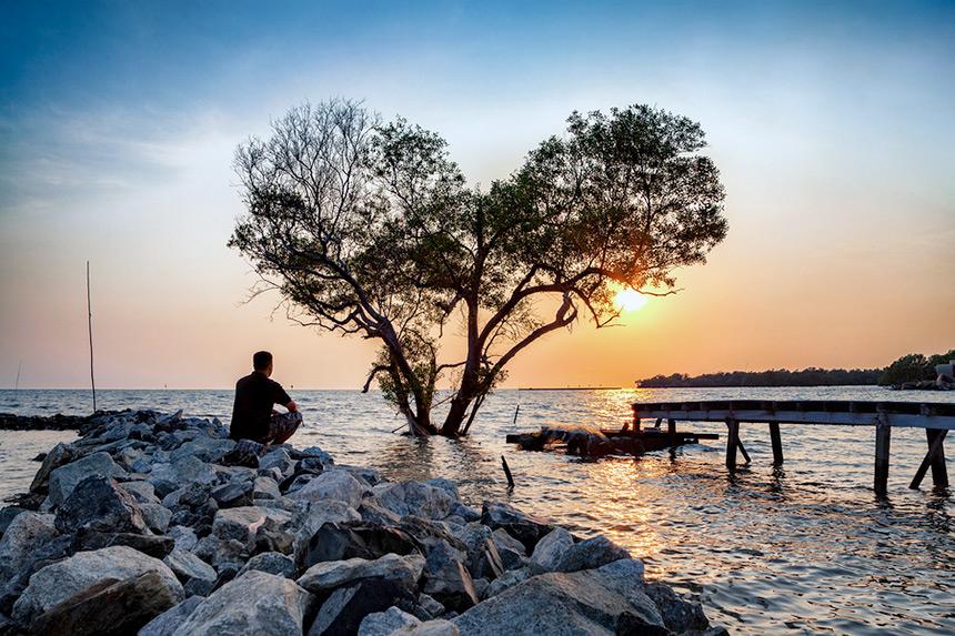 Man watching the sunset