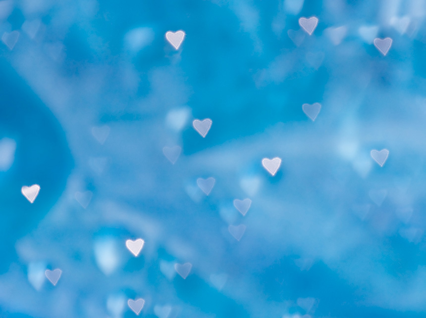 Floating blue hearts